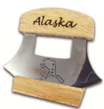 "The blade is made of stainless steel and has a large, easy to grip wooden handle. This is an excellent tool for single-handed people or people with weak hands. The Ulu rocker knife performs most culinary chores with ease and efficiency - from chopping nuts to slicing cheese and meats. One aspect of this knife that sets it apart from other rocker knives is that it can easily be sharpened, giving it much longer usability. The blade on the Ulu Knife measures 6"". Walnut knife stand and instruction book included The Ulu knife (pronounced oo-loo) comes from Alaska, and has been used by Native people of the Arctic for centuries. Made in the USA   Package with display stand block PLAIN HANDLE in Birch Wood"