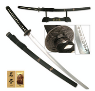 "41.5"" OVERALL (KATANA) STAINLESS STEEL, SWORD OF HONOR CARVED SAMURAI INSCRIPTION ON BLADE WITH COLLECTOR HANG TAG MATTE BLACK SCABBARD WITH HAND CARVED SAMURAI BUSHIDO CODE INCLUDES DISPLAY STAND"