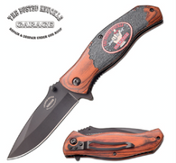 "SPRING ASSISTED KNIFE 7.9"" OVERALL 3.4"" 3CR13 STEEL BLACK BLADE 4.5"" PAKKAWOOD HANDLE EMBOSSED PRINTED ARTWORK INCLUDE POCKET CLIP"