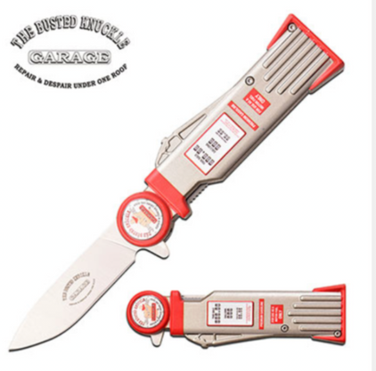 """SPRING ASSISTED KNIFE 7.75"""" OVERALL 3"""" 3CR13 STEEL BLADE 4.75"""" ANODIZED ALUMINUM GAS PUMP HANDLE EMBOSSED PRINTED ARTWORK STAND UPRIGHT"""