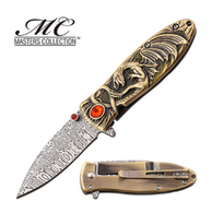 """Gold Dragon with Red Stone Etched Damascus Spring Assisted knife SPRING ASSISTED KNIFE 6.9"""" OVERALL 3"""" 3CR13 STEEL BLADE ETCHED DAMASCUS PATTERN 3.9"""" CASTED ALLOY HANDLE INCLUDES POCKET CLIP"""
