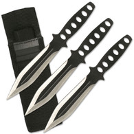 "Set Of Three Throwers •8"" OVERALL •STAINLESS STEEL •2 TONE SILVER AND BLACK BLADE •BLACK STAINLESS STEEL HANDLE •INCLUDES NYLON SHEATH"