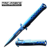 "•SPRING ASSISTED •4.2"" 3MM THICK BLADE, STAINLESS STEEL •BLUE MIRROR TITANIUM COATED BLADE •5'''' CLOSED •MIRROR STAINLESS STEEL HANDLE •INCLUDES POCKET CLIP"
