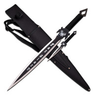 "•SWORDS •27'' OVERALL •19"" 3MM THICK, STAINLESS STEEL •BLACK FINISHED BLADE •BLACK NYLON ROPE WRAPPED HANDLE WITH WOOD INLAY •INCL10"" THROWER AND 600D NYLON SHEATH WITH SHOULDER BELT"