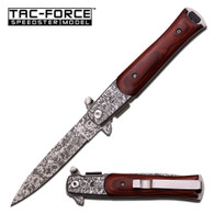 "TAC-FORCE WOOD HANDLE ACID ETCHED STILLETO •SPRING ASSISTED •4"" 3MM THICK BLADE, STAINLESS STEEL •ACID ETCHED SPEAR POINT BLADE •5"" CLOSED •BROWN PAKKAWOOD HANDLE, ACID ETCHED BOLSTER •INCLUDES MATTE POCKET CLIP"