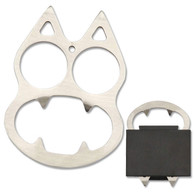 "•CAT BOTTLE OPENER  •SELF DEFENSE EQUIPMENT •3"" X 2.15"" OVERALL •2.8MM THICK, STAINLESS STEEL •CAT STYLE WITH BOTTLE OPENER •INCLUDES NYLON FIBER SHEATH •*NO SHIP TO CALIFORNIA AND NEVADA*"