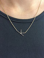 Sideways Single Initial Necklace