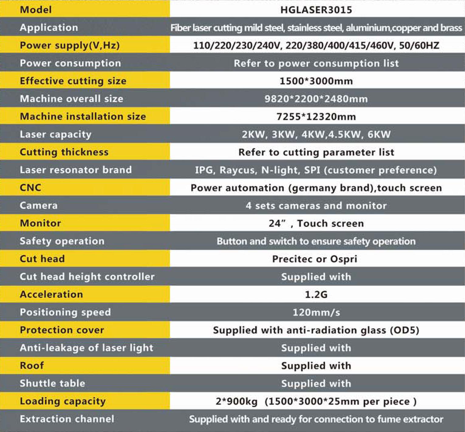 hglaser laser machine specification