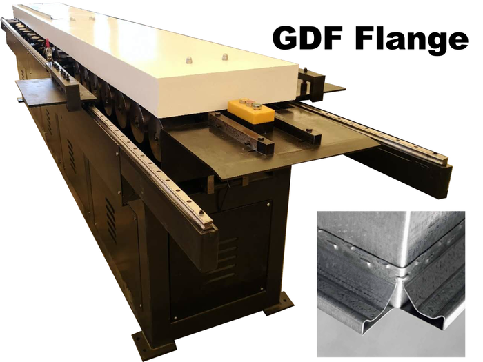 stand alone roll forming machine with two sides to produce flange 20 and flange 30 with rotary metal stitching.