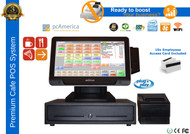 "Premium Cafe Complete POS System With 10.4"" Media Customer Display"