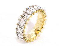 Crystal Baguette gold plated ring
