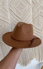 Braided leather wool hat