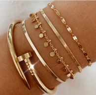 Nail screw gold plated bracelet