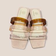Goldenbar Translucent lucite   square sandals