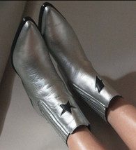 Amazing Bolt Silver Leather Boots