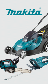 Makita branded lawnmower and garden products