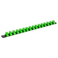 "Sealey AK27054HV Socket Retaining Rail with 16 Clips 1/2""Sq Drive - Hi-Vis Green"