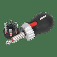 Sealey AK64908 Fine Tooth Ratchet Screwdriver Set 8pc Stubby Platinum Series