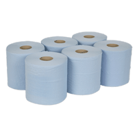 Sealey BLU150 Paper Roll Blue 2-Ply Embossed 150m Pack of 6