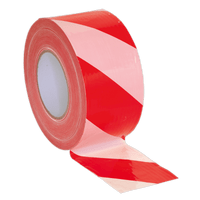 Sealey BTRW Hazard Warning Barrier Tape 80mm x 100m Red/White Non-Adhesive