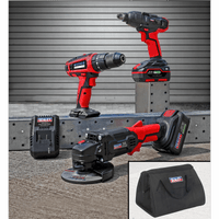 "Sealey CP20VCOMBO1 20V Cordless 13mm Hammer Drill/1/2""Sq Drive Impact Wrench/??115mm Angle Grinder Combo Kit"
