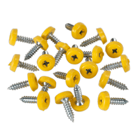 Sealey PTNP2 Number Plate Screw Plastic Enclosed Head 4.8 x 18mm Yellow Pack of 50
