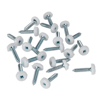 Sealey PTNP5 Number Plate Screw Plastic Enclosed Head 4.8 x 24mm White Pack of 50