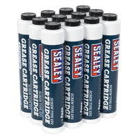 Sealey SCS108 Screw Type EP2 Lithium Grease Cartridge 400g Pack of 12