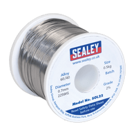 Sealey SOL22 Solder Wire Quick Flow 2% 0.7mm/22SWG 40/60.5kg Reel