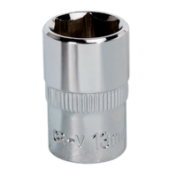"Sealey SP3813 WallDrive Socket 13mm 3/8""Sq Drive Fully Polished"