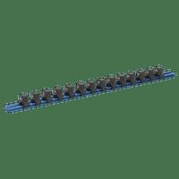 "Sealey SR1214 Socket Retaining Rail with 14 Clips Aluminium 1/2""Sq Drive"