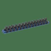 "Sealey SR1414 Socket Retaining Rail with 14 Clips Aluminium 1/4""Sq Drive"