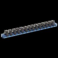 "Sealey SR3814 Socket Retaining Rail with 14 Clips Aluminium 3/8""Sq Drive"