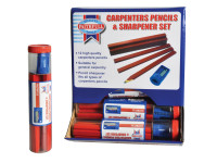 Faithfull FAICPDISP Carpenters Pencils Red (12 x Tubes of 12 + Sharpener)