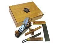 Faithfull FAIPLANEKIT Plane & Woodworking Set of 4 in Wooden Box