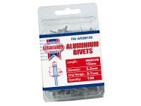 Faithfull FAIAR3M100 Aluminium Rivets 3.2mm x 10mm Medium Pre-Pack of 100