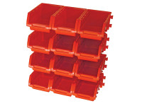 Faithfull FAIPAN12 12 Plastic Storage Bins with Wall Mounting Rails