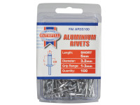 Faithfull FAIAR3S100 Aluminium Rivets 3.2mm x 6mm Short Pre-Pack of 100