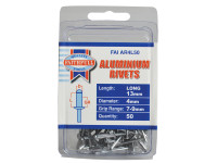 Faithfull FAIAR4L50 Aluminium Rivets 4mm x 13mm Long Pre-Pack of 50