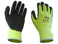 Scan SCAGLOLATYL Hi-Vis Yellow Foam Latex Coated Gloves - L (Size 9)