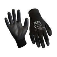 Scan SCAGLOPU12M Black PU Coated Gloves - M (Size 8) (12 Pairs)
