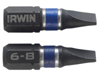 Impact Screwdriver Bits Slotted 6.5 x 25mm Pack of 2 | Toolden