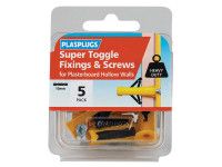 Plasplugs PLAHWSTS05 Super Toggle Fixings & Screws Pack of 5 | Toolden