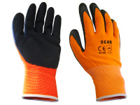 Scan SCAGLOLATOXL Hi-Vis Orange Foam Latex Coated Gloves - XL (Size 10) | Toolden