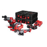 Milwaukee M18FPP4K2-502P 4pc 18V Tool Set in PACKOUT™ Cases  | Toolden