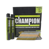 Champion 1st Fix 3.1 x 90mm Electro Galvanised Part Annular Ring Nails 2200 + 2 Fuel Cells
