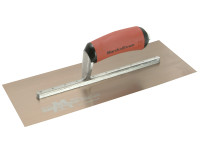 Marshalltown MPB13GSD Gold Stainless Steel Pre-Worn Plasterers Trowel DuraSoft 13in x 5in from Toolden.