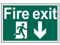 Scan Fire Exit Running Man Arrow Down - PVC 300 x 200mm