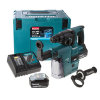 Makita DHR242RMJV 18V li-ion SDS Plus Brushless 3 Mode Rotary Hammer Drill 24mm + DX01 Dust Extraction System 2 x 4Ah Batteries from Toolden
