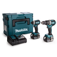Makita DLX2180TJ 2-Piece Cordless Brushless Kit Combi Drill + Impact Driver 18V 2 x 5.0Ah Batteries from Toolden